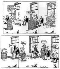 Dingbat Family: e a primeira tira onde Ignatz aremessa uma pedra em Kat (26/06/1910)